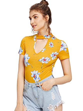 f6c73650095c SheIn Women's V Neck Choker Short Sleeve Junior Tops Teen Girls Graphic  Tees X-Small