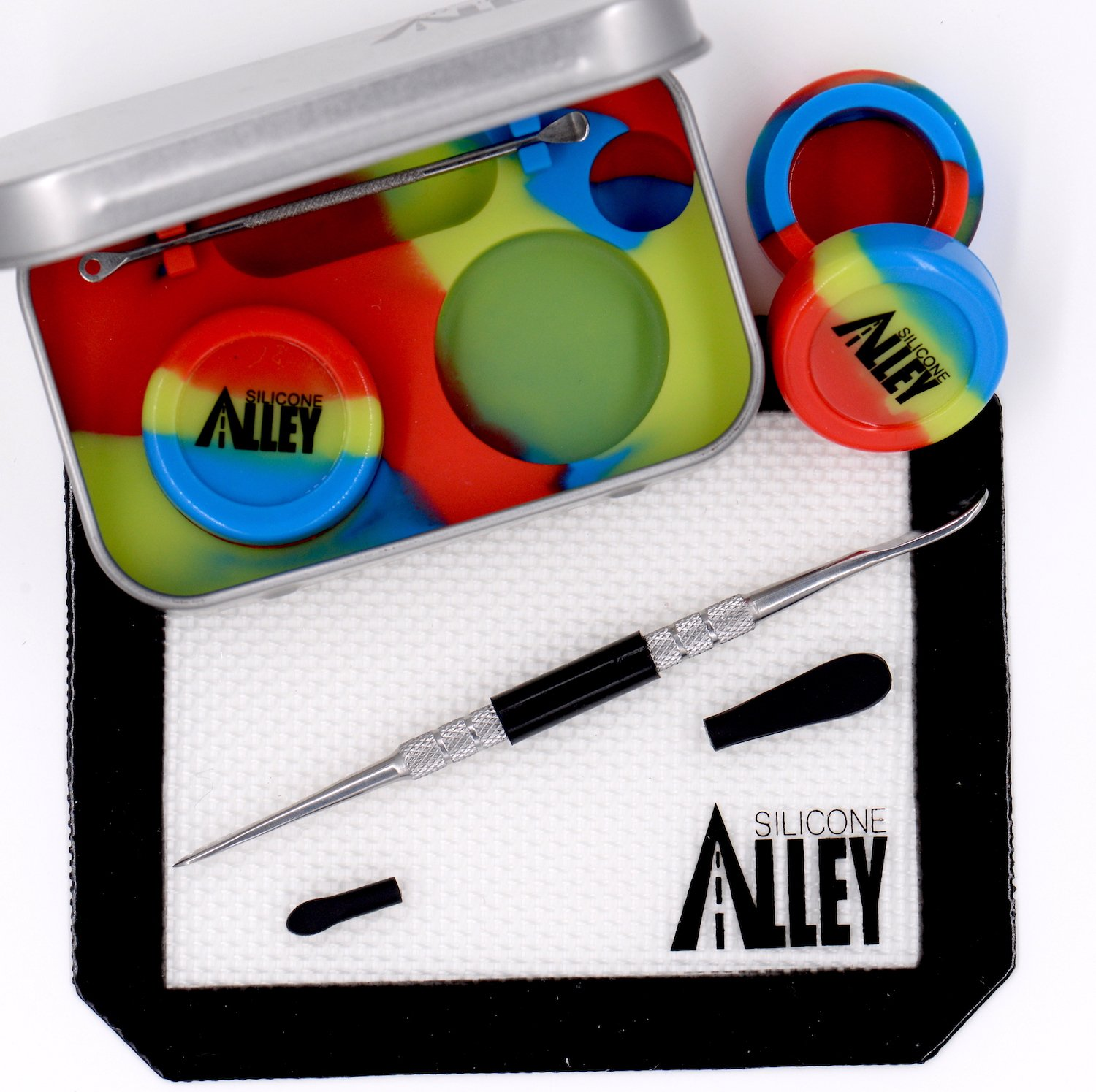 SILICONE ALLEY Wax Carving Travel Kit - [Red/Blue/Green] Nonstick Tin with Silicone Jar Containers 5ml (2 units) + Stainless Steel Carving Tool (1) + Mini Carver Tool (1) + Wax Mat 3'' x 5'' (1)