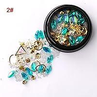 Niome 1 Box Nail Art 3D Tips DIY Mixed Bead Decoration Rhinestones Glitter Crystal Studs Ball 2#