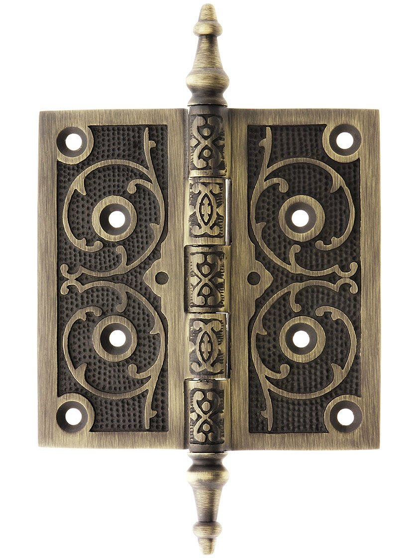 House of Antique Hardware W-04HH-400-OB Solid Brass Steeple Tip 4 1//2 Hinge with Decorative Vine Pattern in Oil-Rubbed Bronze
