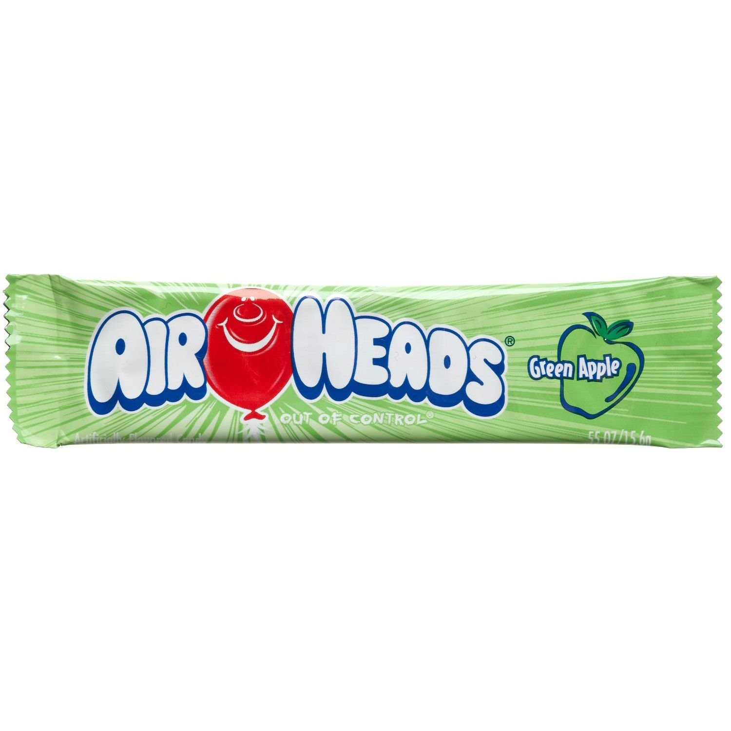 Airheads Green Apple Flavored Candy - 0.55 oz. Bar - 36 ct. by Airheads