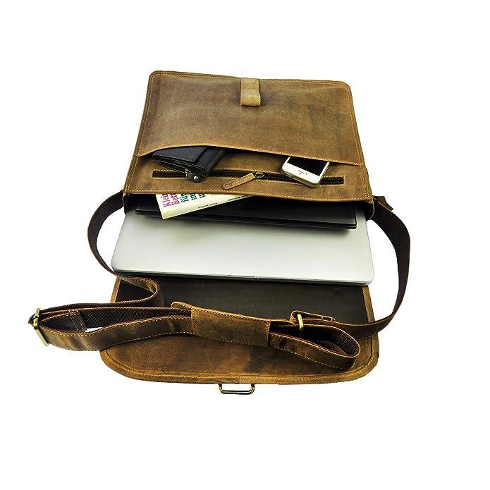 Echtleder Laptop Notebook Umhängetasche mit Notebook-Fach bis 13,5 Zoll 5 Farben