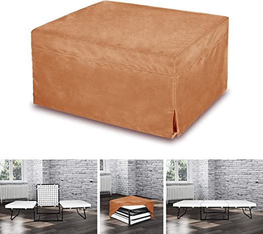 Space Innovations Ottoman Folding Sleeper Bed Foam Mattress Folding Convertible Sleeper Bed With Guest Hideaway Bed No Assembly Required Camel