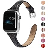 Wearlizer Black Thin Glitter Leather Compatible with Apple Watch Bands 42mm 44mm Womens for iWatch SE Slim Wristband…