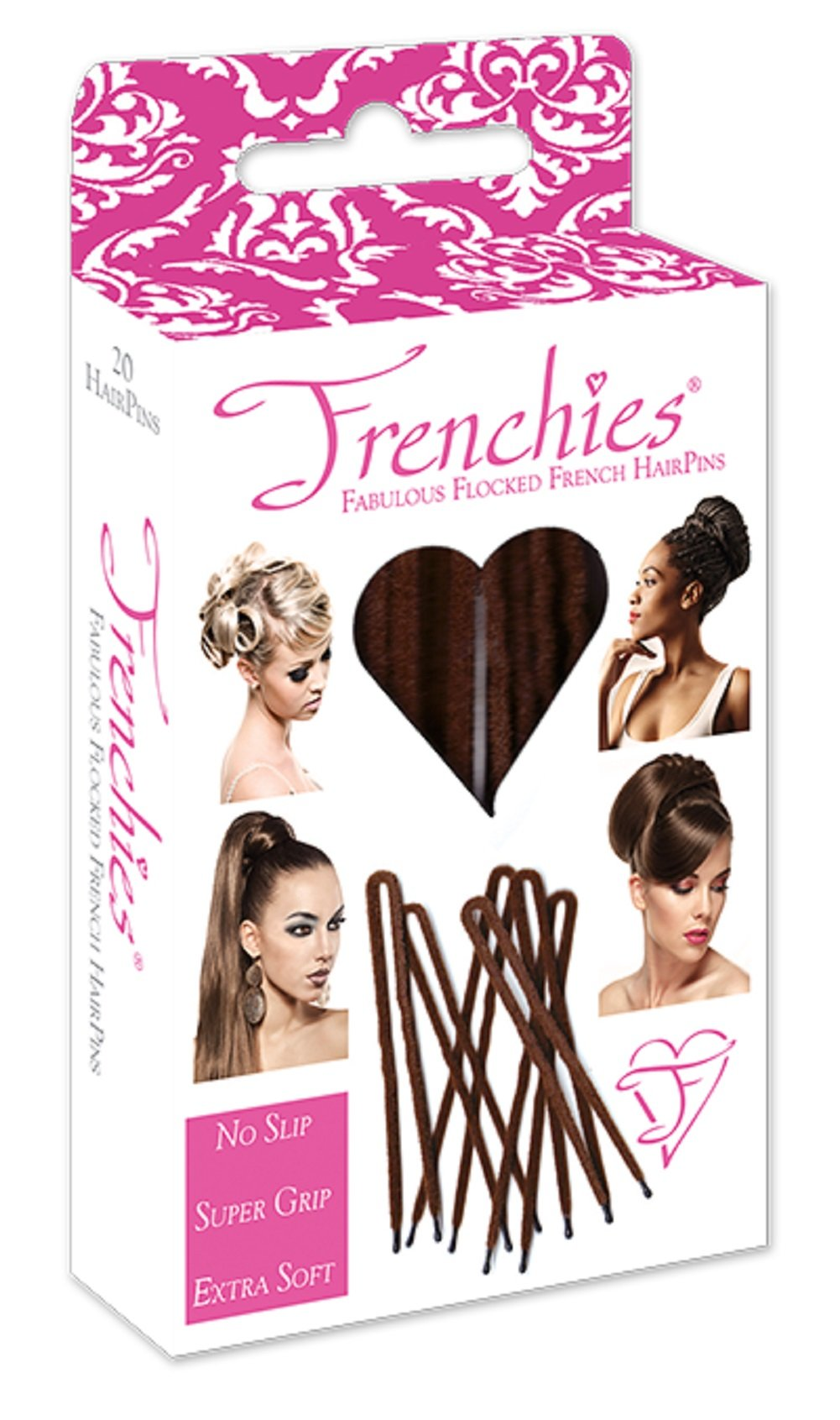Frenchies Ultra Flocked Extra Soft French Twist Hair Pins: The French Hair Pins for Buns, Updo Hairstyles, Hair Extensions + Wigs - 20 Count Brown by Frenchies (Image #1)