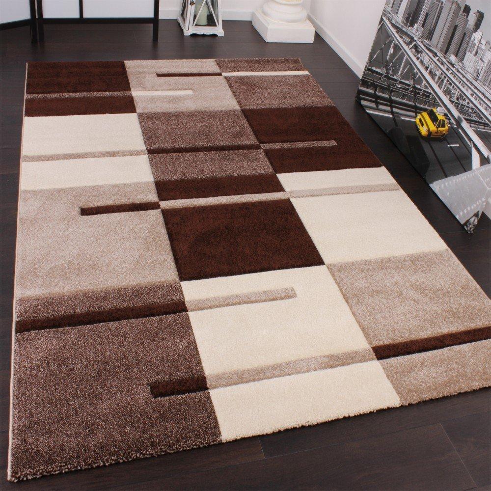 PHC Designer Teppich mit Konturenschnitt Karo Muster Beige Braun, Grösse 240x330 cm