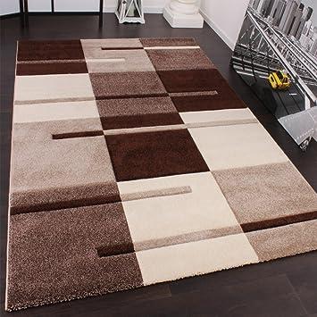 Paco Home Designer Teppich Mit Konturenschnitt Karo Muster Beige