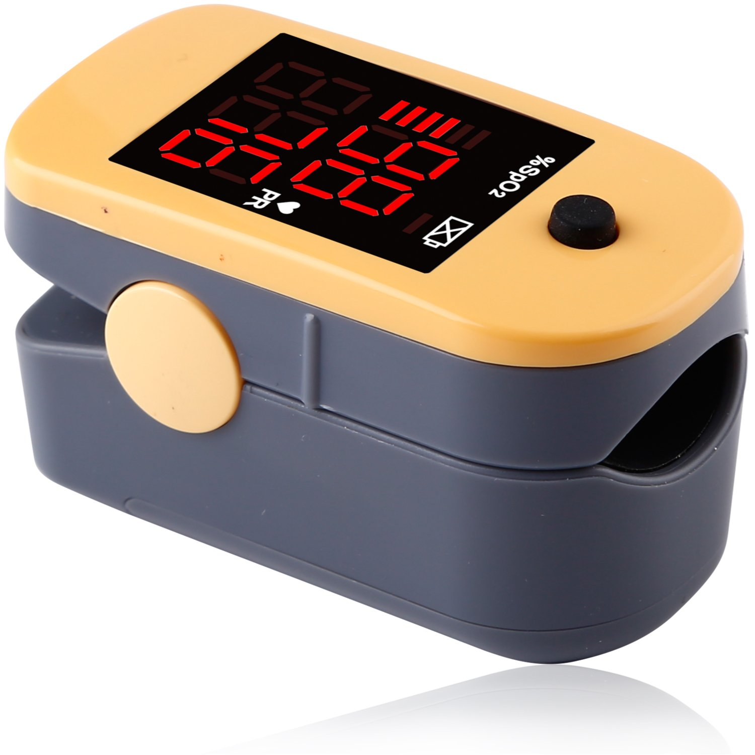 CHOICEMMED Yellow Finger Pulse Oximeter - Blood Oxygen Saturation Monitor Great as SPO2 Pulse Oximeter - Portable Oxygen Sensor with Included Batteries - O2 Saturation Monitor with Carry Pouch