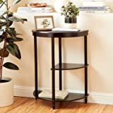 Half Circle Entryway Console Table, Small Semi-Round Table with 3 Open Shelves, Half Moon Table for Hallway with Sleek, Moder