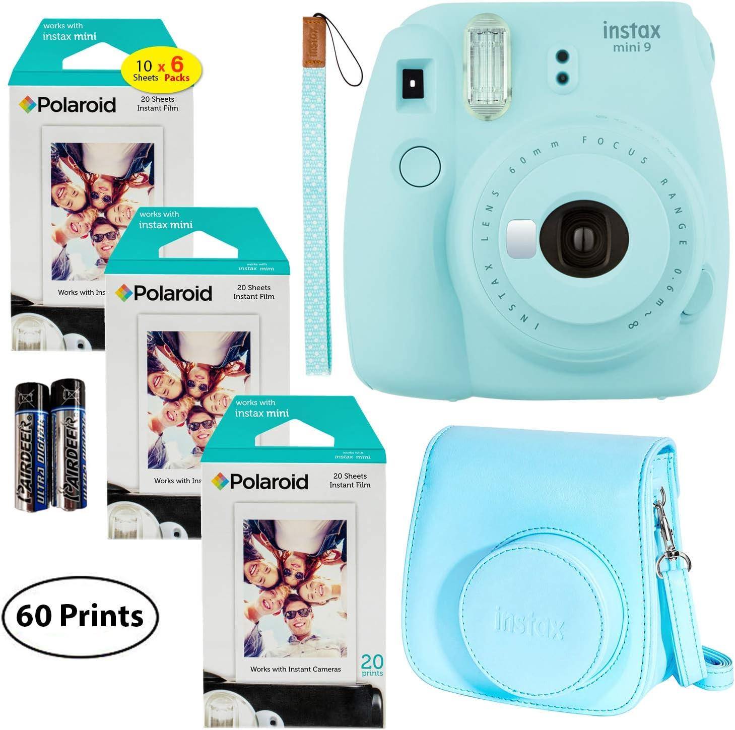 Fujifilm Instax Mini 9 Instant Camera (Ice Blue),6 x Packs 10 Prints Instant Film (60 Sheets) and Fuji Groovy Case (Blue) Bundle