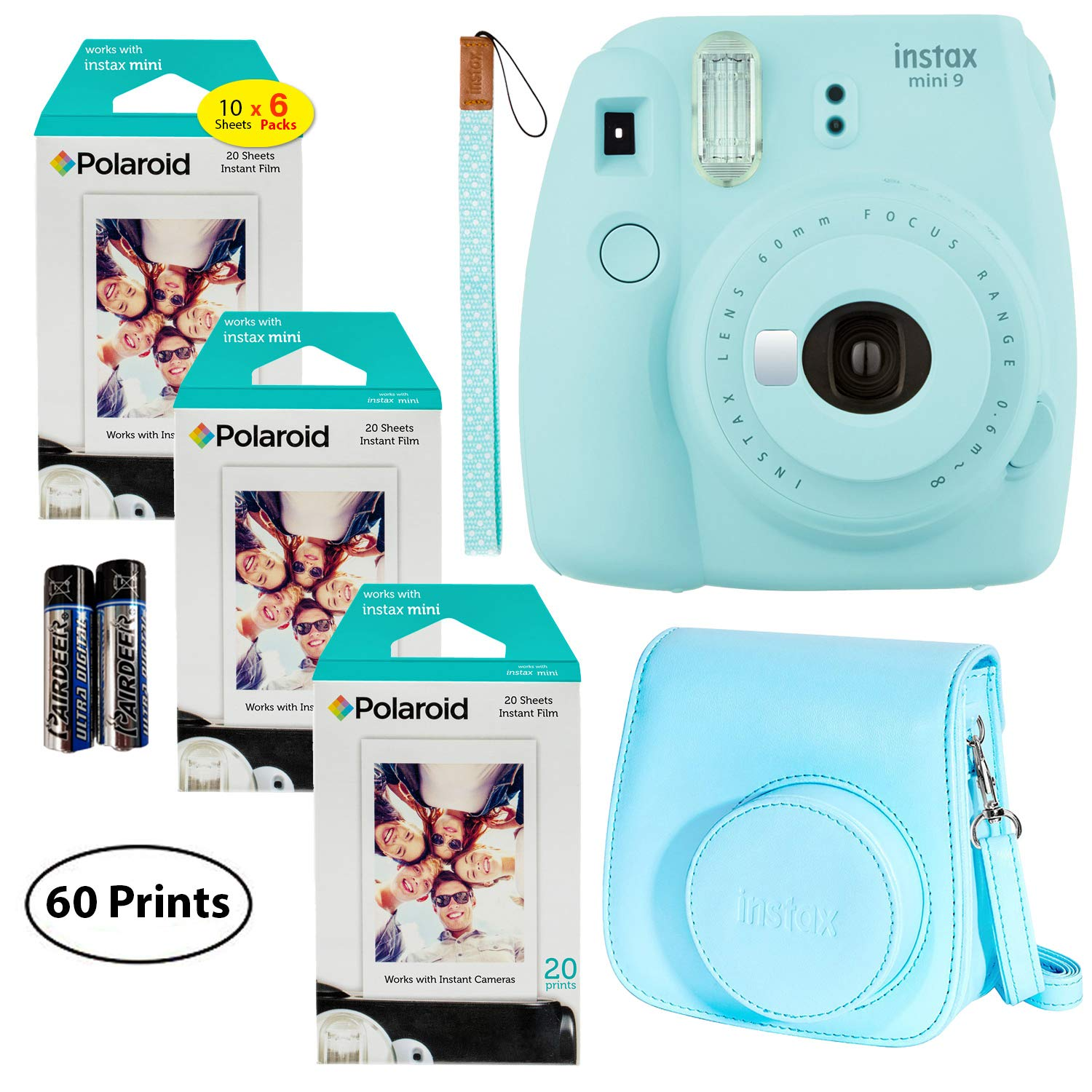Fujifilm Instax Mini 9 Instant Camera (Ice Blue), 3X Twin Pack Instant Film (60 Sheets) and Fuji Groovy Case (Ice Blue) Bundle by Fujifilm