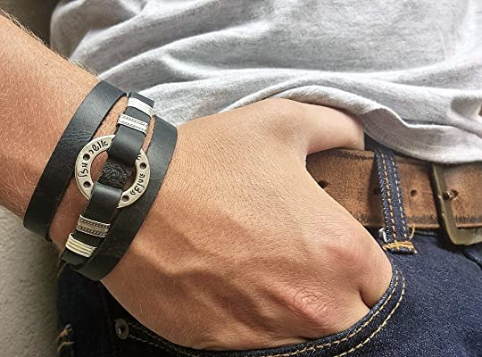 Leather Unisex Bracelet With Bible Blessings In Hebrew, Religious Leather Bracelet