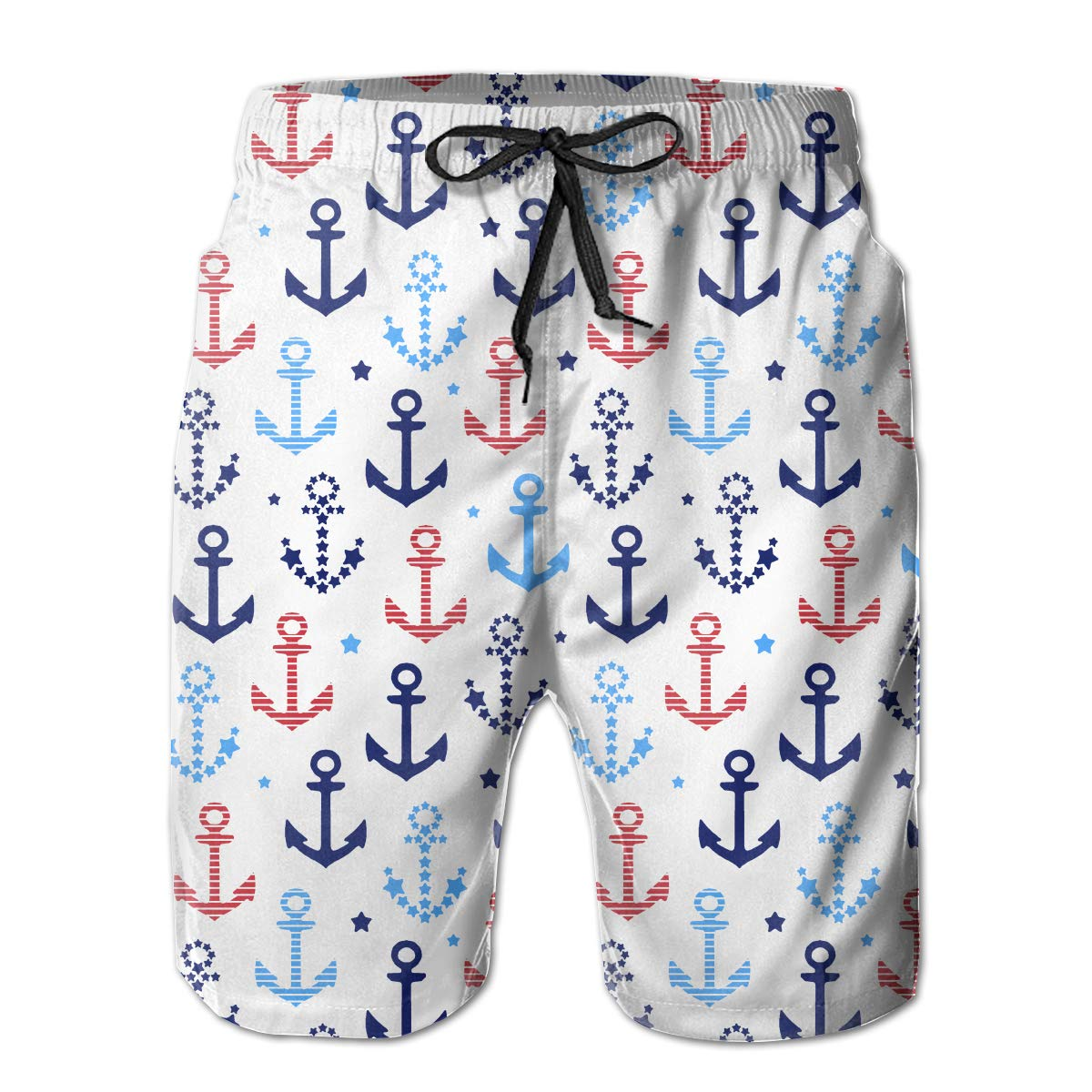 Mens Swim Trunks Cotton Anchor Quick Dry Beach Board Shorts with Mesh Lining