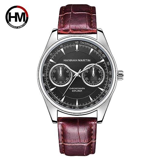 Hombres Reloj de Pulsera de Cuarzo de Cuero de Lujo Hannah Martin Reloj de Pulsera Masculino de Negocios HM-KY12 Reloj para Hombre Relojes Deportivos a ...