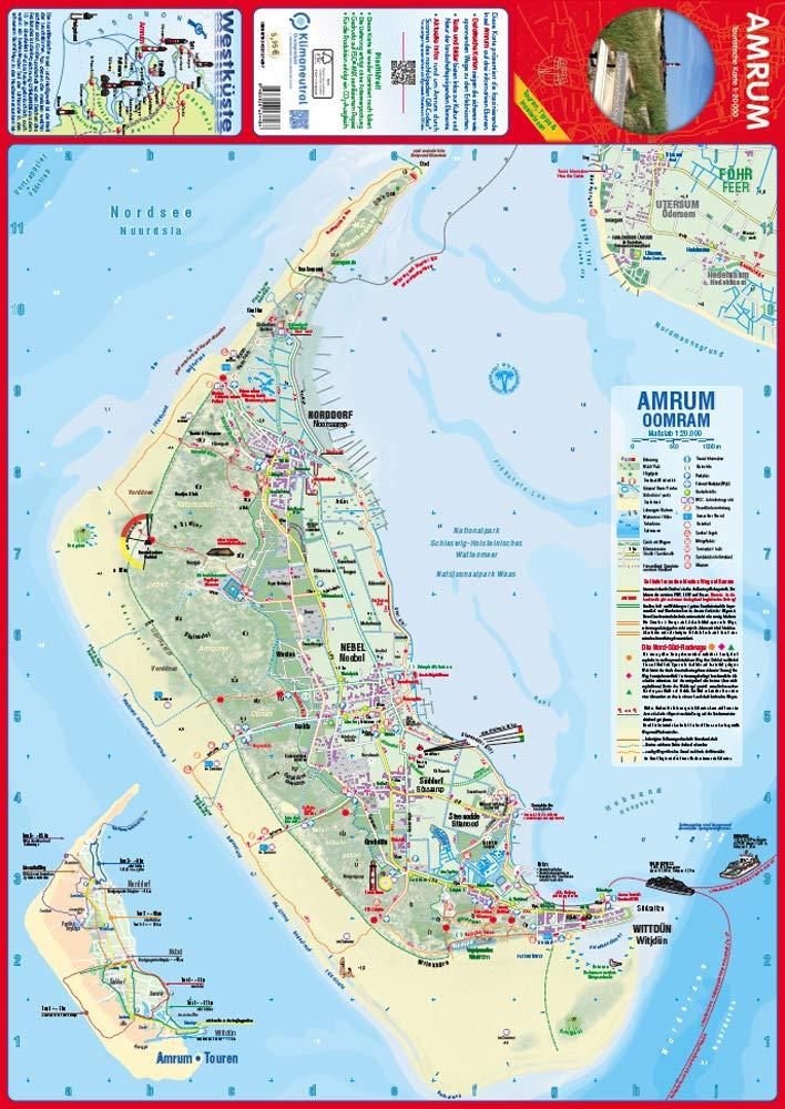Amrum Touristische Karte Landkarte Der Insel Mit Ortsplanen Und