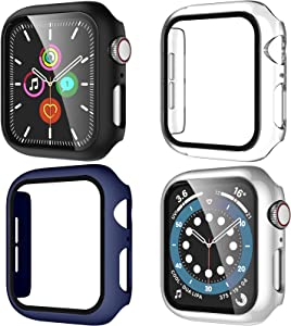 Maledan Compatible with Apple Watch Case 44mm iWatch SE Series 6 5 4 Screen Protector, Thin Bumper Tempered Glass Hard PC Full Protective Case Cover for Women Men, Black/Blue/Silver/Clear, 4 Pack