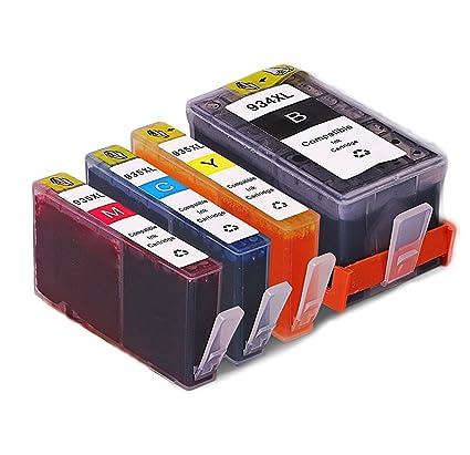 QINK 4PK Nuevo Chip Actualizado para HP 934 HP 935 Remanufacturados Cartucho Alto Rendimiento C2P23AE C2P24AE C2P25AE C2P26AE para HP OfficeJet Pro ...