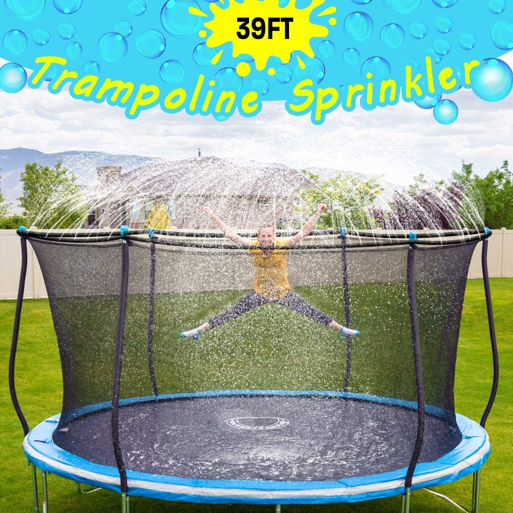 Trampoline Sprinkler-Trampoline Sprinkler for Kids Outdoor Spary Water park Fun Summer Outdoor Water Games Yard Toys Sprinklers Backyard Water Park for Boys Girls 39 ft