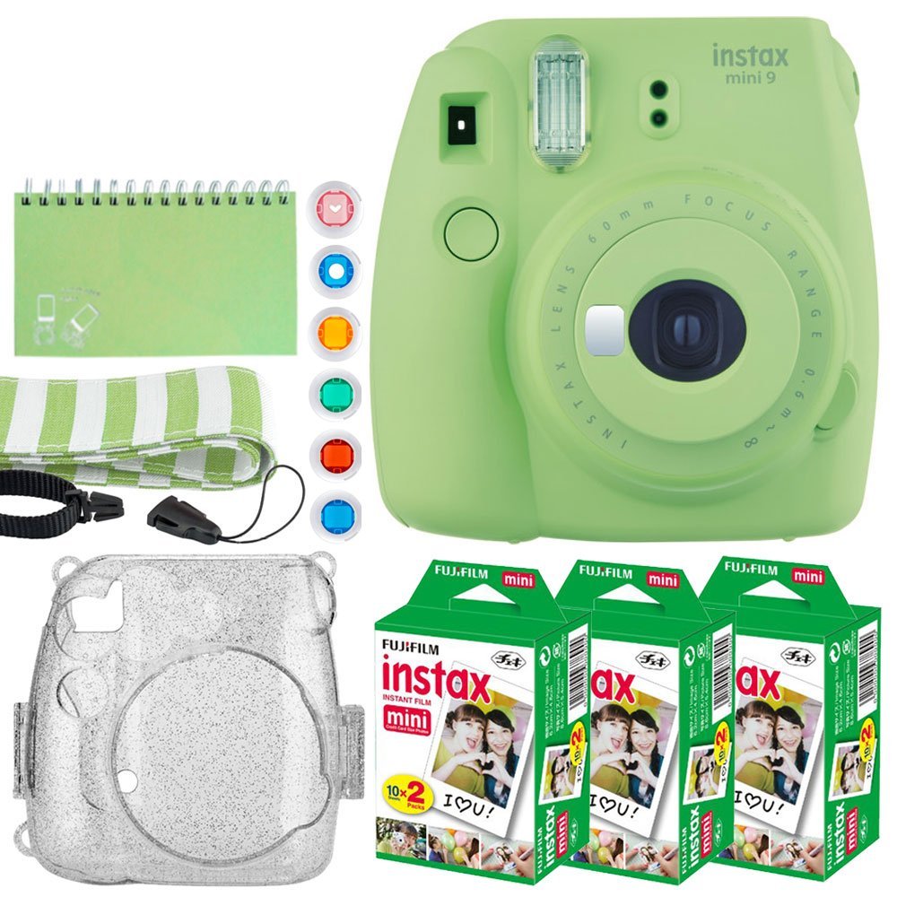 Fujifilm Instax Mini 9 Instant Camera (Lime Green) + Fujifilm Instax Mini Twin Pack Instant Film (60 Exposures) + Glitter Hard Case + Scrapbook Album + Colored Lens Filters + Neck Strap – Full Bundle
