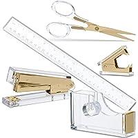 Gold Acrylic Lucite Bundle | Premium Stapler, Tape Dispenser, Scissors, Staple Remover, Ruler | Clear Stationery & Desk…