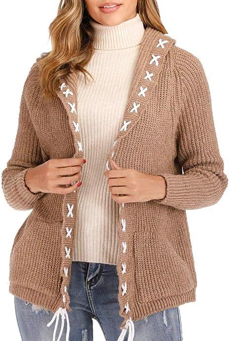 MXJEEIO🍒 Abrigos Mujer Invierno Cardigan Jersey abrigo informal ...