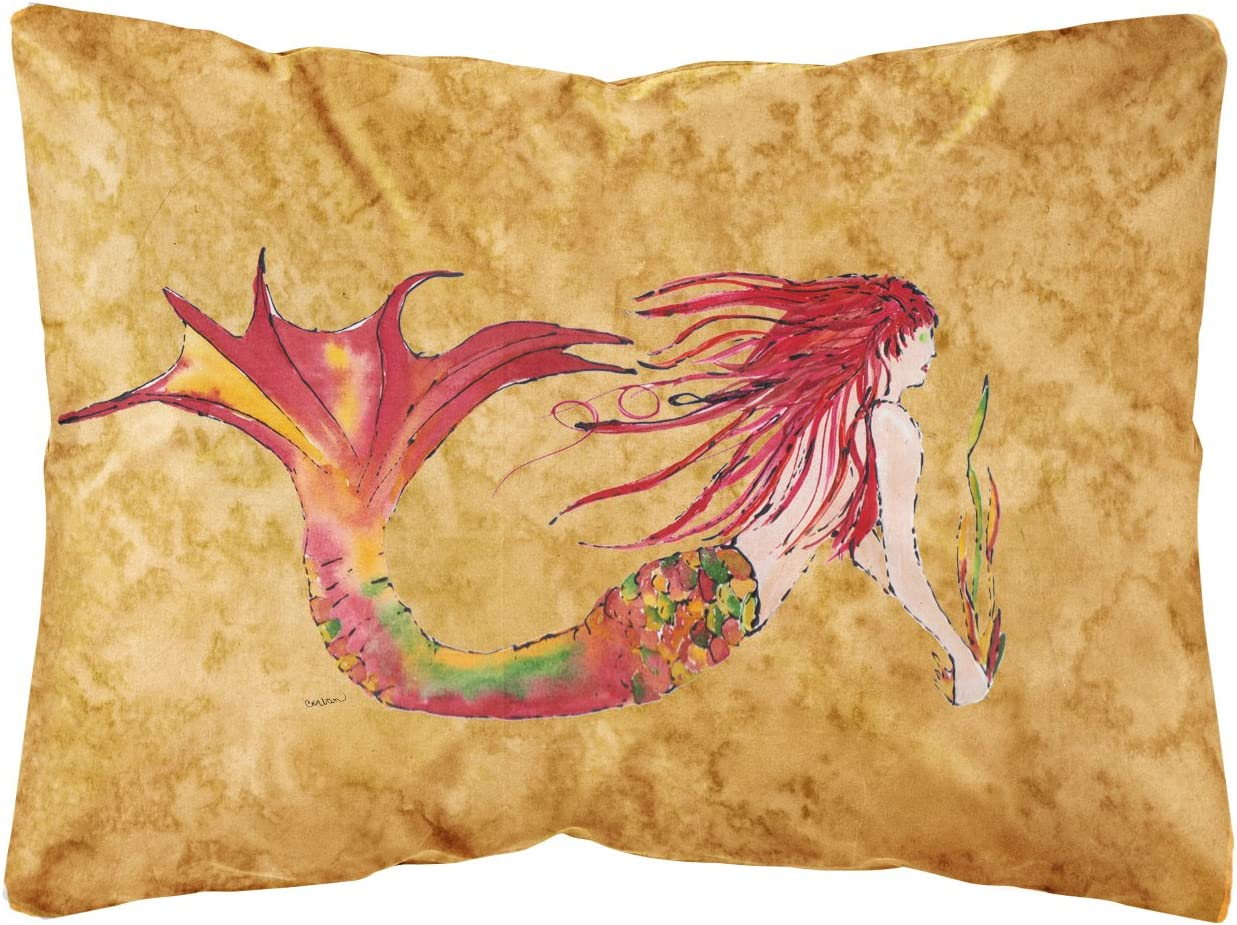 Caroline's Treasures 8727PW1216 Ginger Red Headed Mermaid on Gold Canvas Fabric Decorative Pillow
