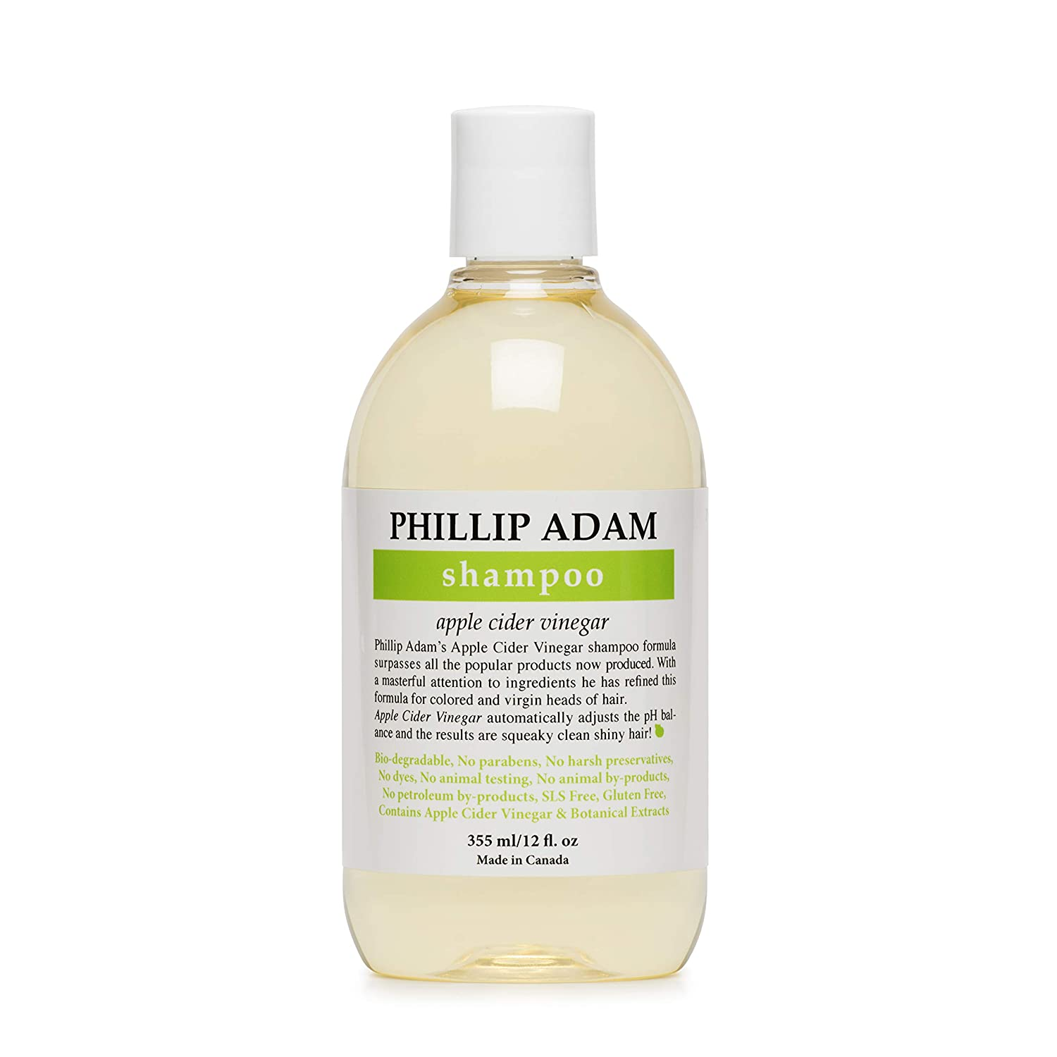 Phillip Adam Apple Cider Vinegar Shampoo for Shiny Hair - Sulfate Free and Paraben Free - Original Green Apple Scent - 12 Ounce