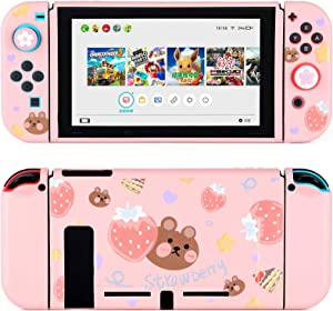 Tscope Protective Case for Nintendo Switch, Pink Soft TPU Slim Case Cover for NS Console and Joy-Con Controllers, with Tempered Glass Screen and 2 Thumb Grips Caps (Strawberry Bear Pink)