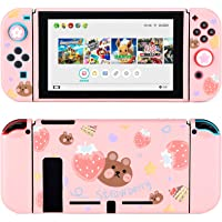 Tscope Protective Case for Nintendo Switch, Pink Soft TPU Slim Case Cover for NS Console and Joy-Con Controllers, with…