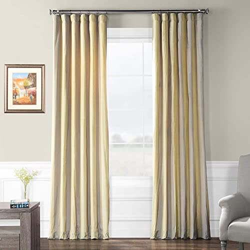 HPD Half Price Drapes PTS-SLK702A-120 Designer Striped Faux Silk Curtain 1 Panel , 50 X 120, Riviera
