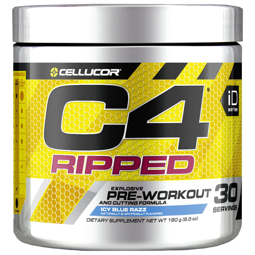 Cellucor C4 Ripped Pre Workout Powder, ICY Blue Razz, 30 Servings - Preworkout Powder for Men & Women with Green Coffee Bean Extract & L Carnitine by Cellucor