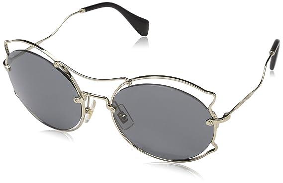 d47545c090a2a Amazon.com  Miu Miu MU50SS ZVN9K1 Pale Gold Round Sunglasses Size ...