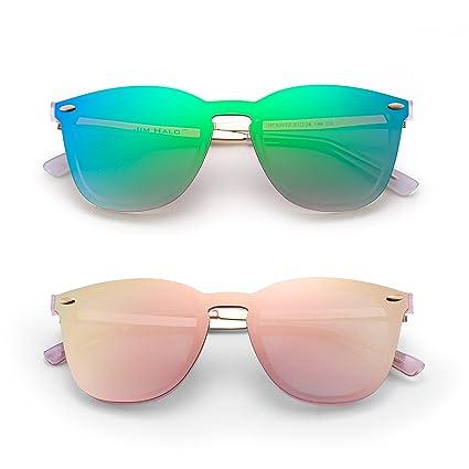 Amazon.com: Gafas de sol sin borde de una pieza con espejo ...