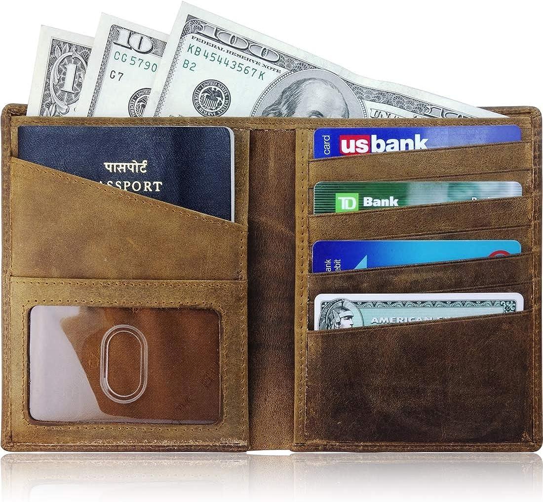 AurDo RFID Blocking Real Leather Passport Holder Cover Case & Travel Wallet for Men & Women (Hunter Natural Brown): Clothing
