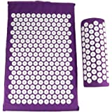 Sponge Back Neck Massage Pad Acupressure Mat and Pillow Set Manual Massager with Carry Bag for Storage and Travel AOD