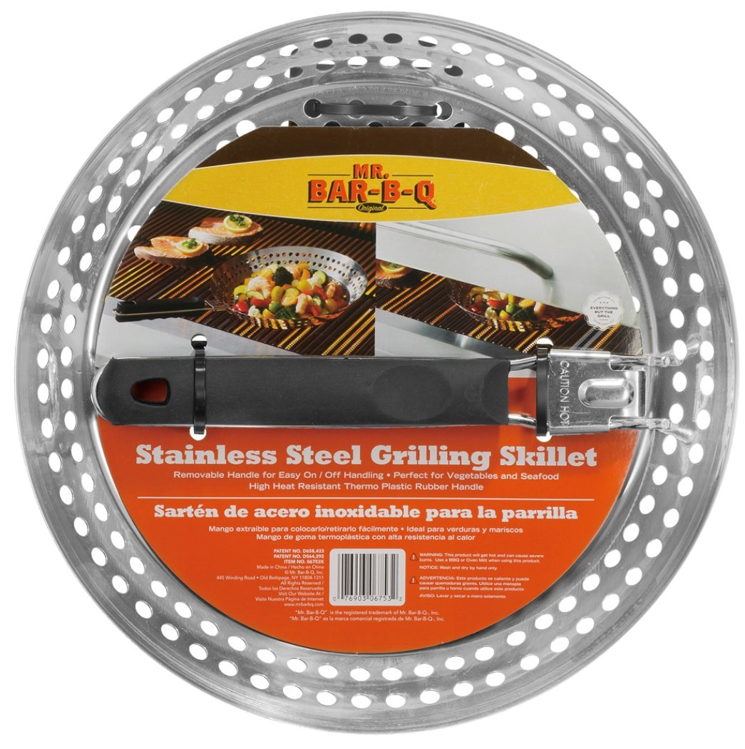 Mr. BBQ Stainless Steel Skillet with Removable Heat Resistant Handle - Perfect for Cooking Vegetables, Stir Fry, Seafood and More - Great for Tailgating and Camping by Mr. Bar-B-Q