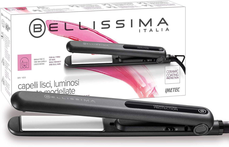 Imetec Bellissima B9 100 - Plancha para el cabello, calentamiento rápido, multivoltaje automático, temperatura de 210ºC
