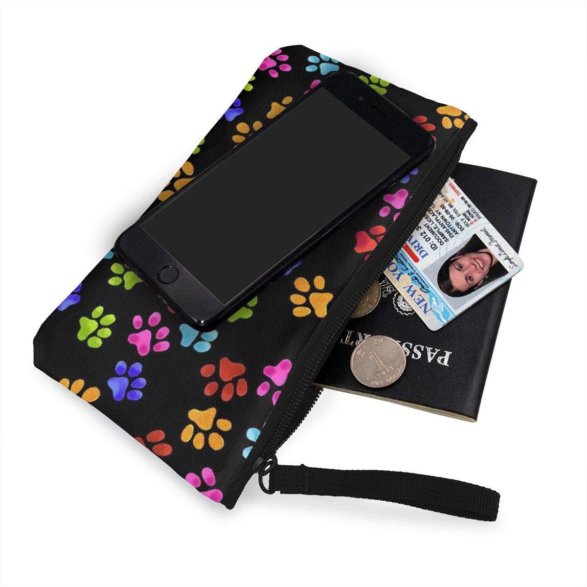 Canvas Cash Coin Purse,Colorful Paws Print Make Up Bag Zipper Small Purse Wallets