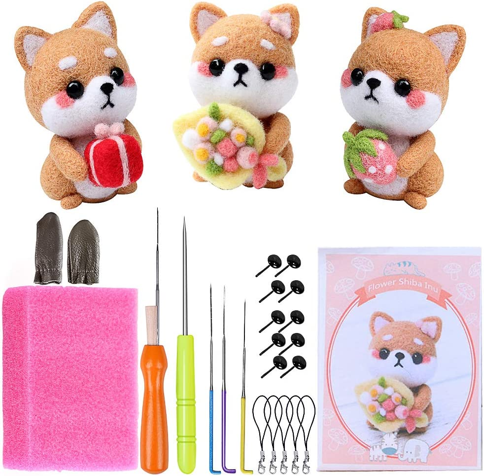 Children Needle Felting Beginner Kits 4 Pack Animal Doll Making Felting Set with Manual and Felting Tools Lovers with Gift Box Best Gift for Women Enough Wools for DIY Felting Starters