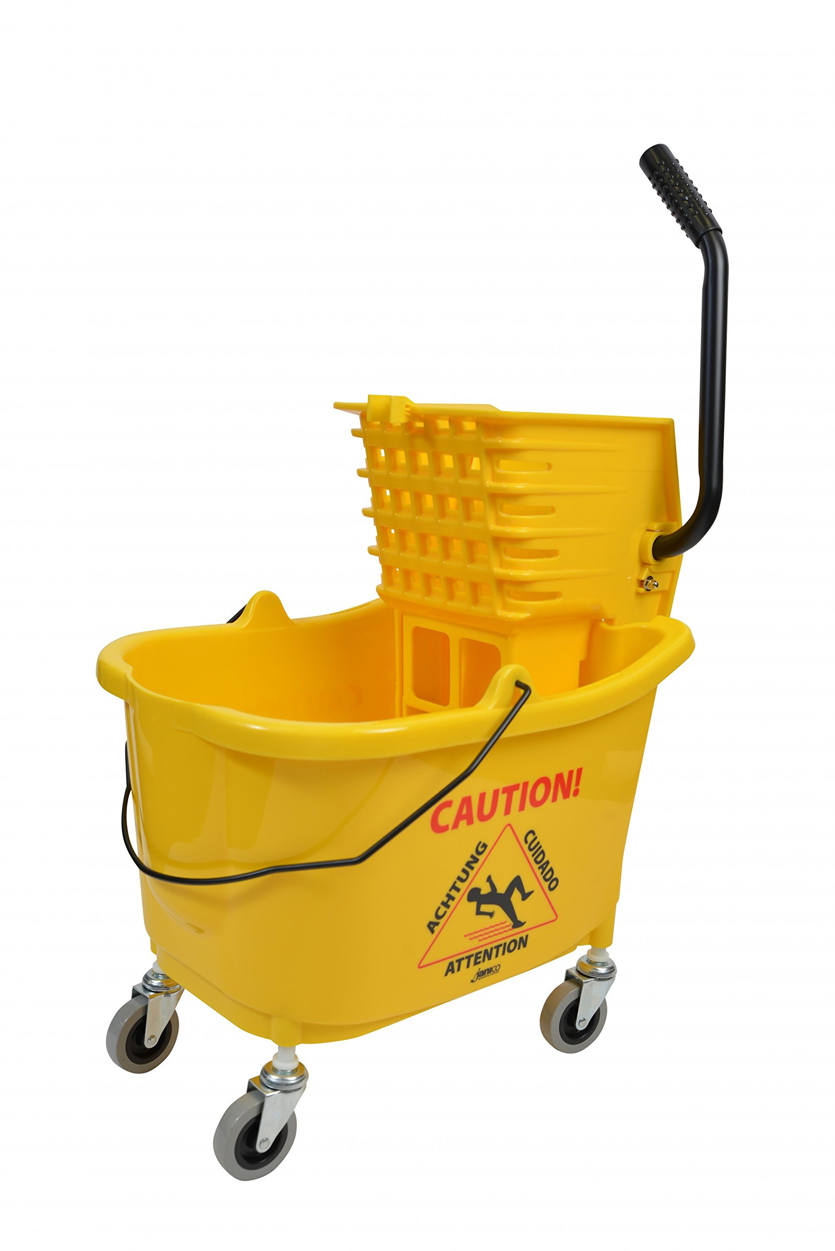 Janico 1010 Mop Bucket Side Press Wringer Combo, 35 Quart, 8.5 gal, Plastic, Yellow