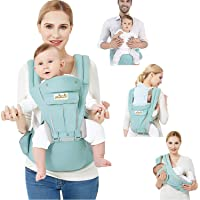 Viedouce Baby Carrier Ergonomic with Hip Seat Pure Cotton Lightweight and Breathable, Cyan