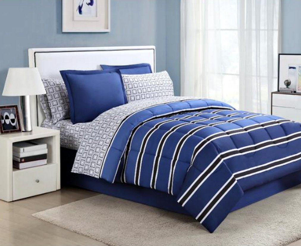 Teen Boys Rugby Blue U0026 Black Striped FULL Comforter