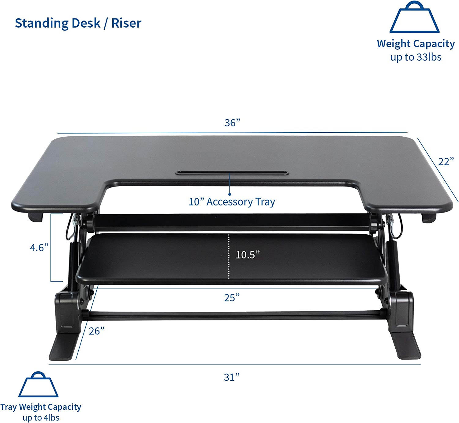 VIVO Black Height Adjustable 36 inch Stand up Desk Converter Quick Sit to Stand Tabletop Dual Monitor Riser DESK-V000V