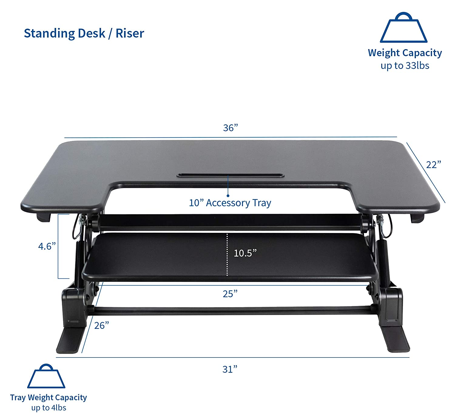 VIVO Black Height Adjustable 36 Stand up Desk Converter Quick Sit to Stand Tabletop Dual Monitor Riser DESK-V000V