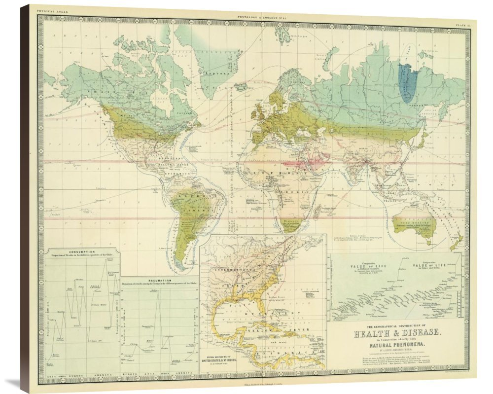 Global Gallery GCS-295532-36-144 ''Historical Map Alexander Keith Johnston Health Disease 1856'' Museum Wrap Giclee on Canvas Wall Art Print
