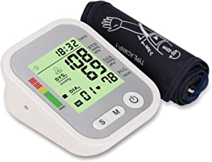 Wgwioo Upper Arm Blood Pressure Monitor, Digital Automatic Upper Arm Heart Rate Pulse with Wide-Range Cuff 2 Users Mode, Home Use
