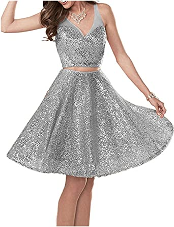 TTdamai Womens Rose Gold Tow Piece Sequins Prom Dresses Short 2018 Sweet Mini Homecoming Gowns with Pockets at Amazon Womens Clothing store: