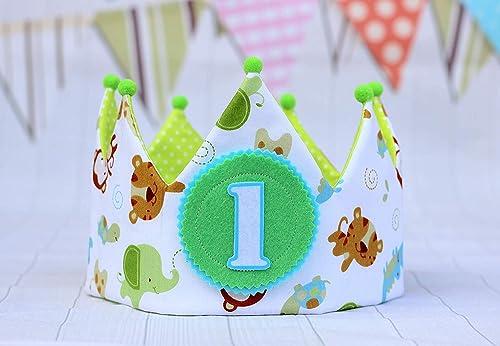 Corona bebe cumpleaños unisex, corona de tela de dibujos de ...
