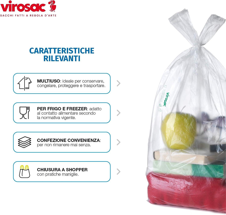 1000 Usi Virosac Sacchetti multiuso a forma di shopper 34x60 200 sacchetti per rotolo kit da 2 rotoli