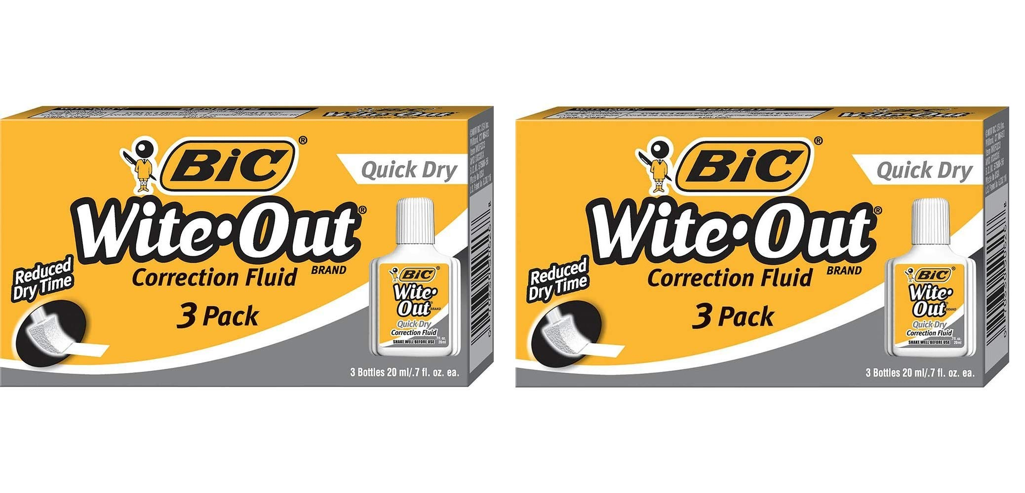 BIC Wite-Out Quick Dry Correction Fluid 20ml Bottle, 2 Pack (3 Bottles)